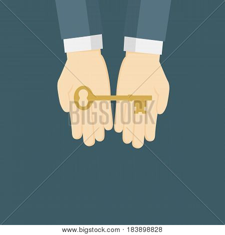 Businessman giving golden key. Key of success concept