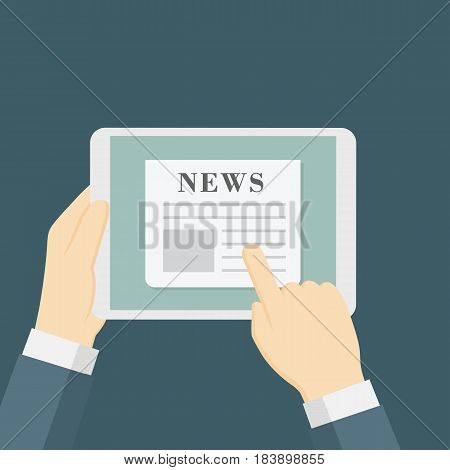 Online news vector illustration. People hand holding tablet and reading news online