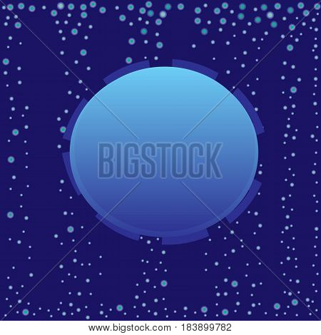 Abstract blue bubble label with vertical flux background