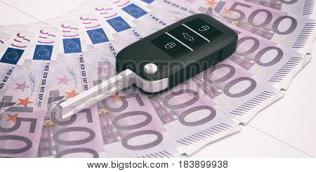 Car Key On Euros Banknotes Background. 3D Illustration