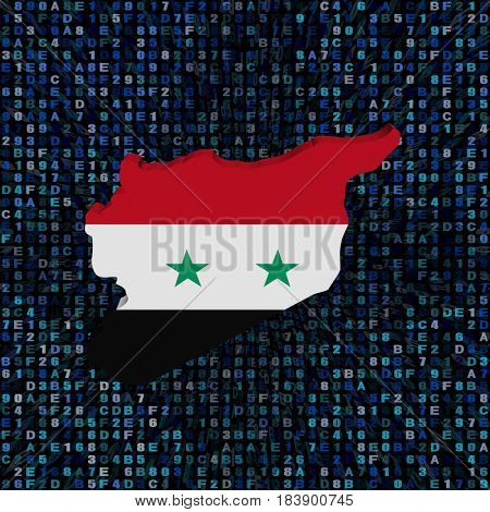 Syria map flag on hex code 3d illustration