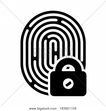 Fingerprint with lock linear icon. Security measure, preventing crime, checking identity, electronic reading concept. Graphic design element. Isolated on white background. Vector illustration