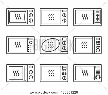 Microwave icon set. Different electric oven icons. Oven symbol in thin lines. Using microwaves - modern and fast way of food heating procedure. Vector isolated illustration.