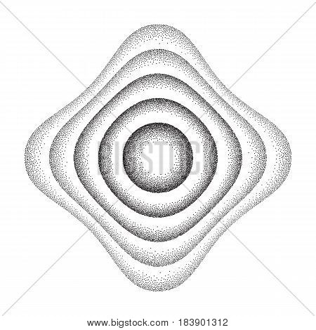 Vector illustration of rounded shape background consist of black dots on white backdrop. Abstract gradient dotted geometric template with halftone effect