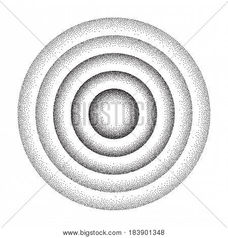 Vector illustration of rounded concentric circles background consist of black dots on white backdrop. Abstract gradient dotted geometric template with halftone effect