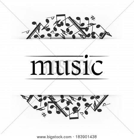 Music banner with shadow. Musical background. Place for your text. Graphic design element for  web, flyers, prints, flyers, prints. Abstract vector illustration.