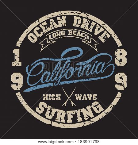 California surf typography, For t-shirt or other uses. Stock Vector Illustration.