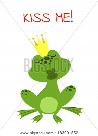 charmed prince frog in a golden crown waiting for a kiss and text Kiss Me