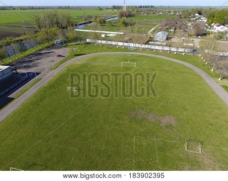 Top View Of A Rural Stadium. Football Stadium.