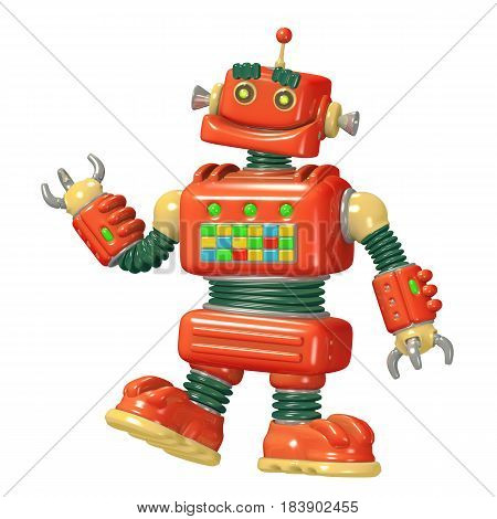 Cartoon red robot 3D illustration. Science fiction . Original cute character.
