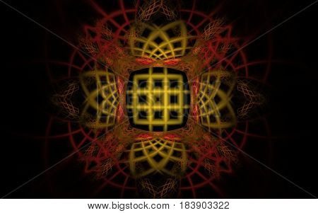 Abstract image of geometric shapes and lines of yellow, red in the form of a grid or web on a black background