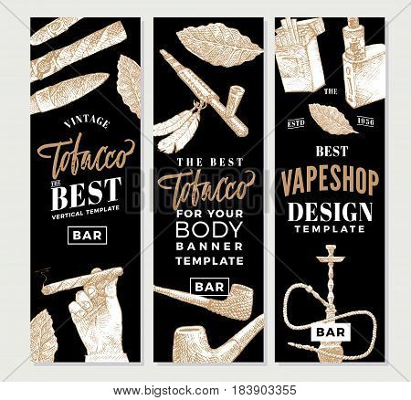 Vintage tobacco vertical banners with hand drawn smoking accessories and products vector illustration