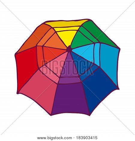 Top view colorful opened umbrella concept in hand drawn style on white background isolated vector illustration