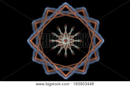 Image of an abstract symbol in the form of a star with fluffy rays framed by intertwining squares of orange and blue lines on a black background.