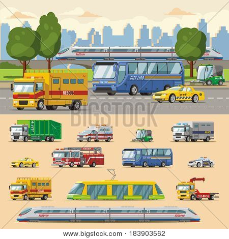 Colorful urban transport concept with municipal cars trucks bus and railway vehicles isolated vector illustration