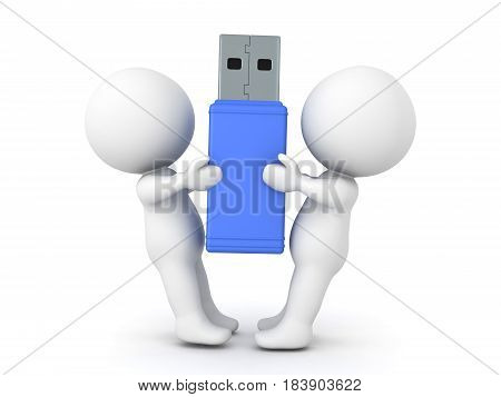 3D Characters fighting over usb sitck drive. Image conveying disagreement over an object.