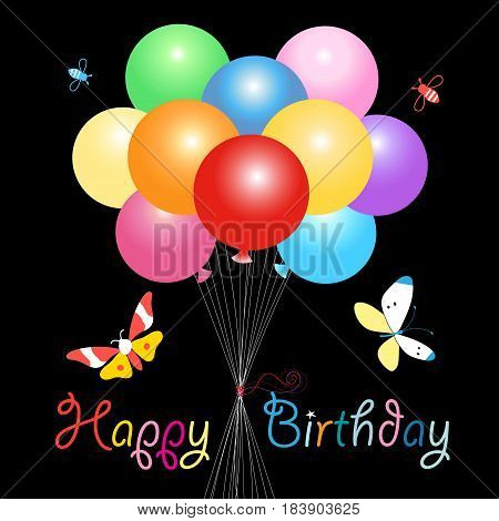 Greeting card with colorful balloons and butterflies with a Happy Birthday