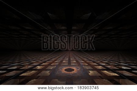 Abstract image of square brown tiles on a plane in projection with a flower in the middle and a dark ceiling