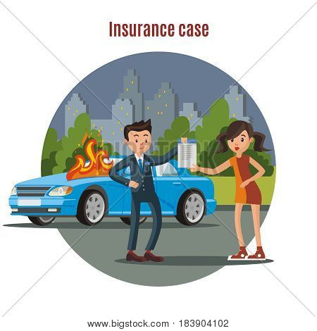 Colorful car insurance template with driver agent holding policy and burning car vector illustration