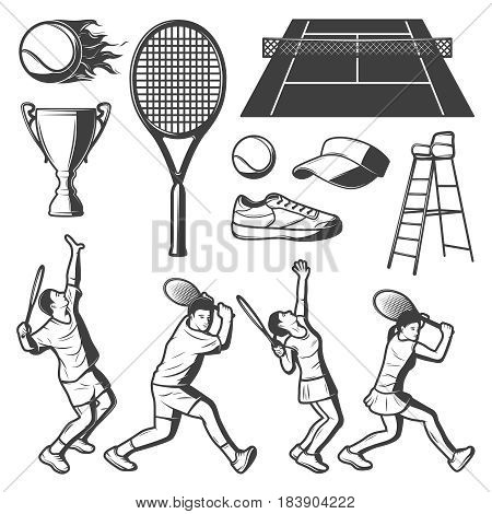 Vintage tennis elements collection with players cup court balls racket sneaker cap and judge chair isolated vector illustration