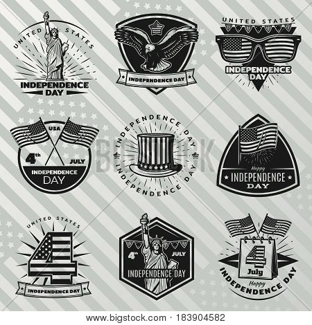 Black vintage Independence Day labels set with inscriptions traditional and festive american elements on striped background isolated vector illustration