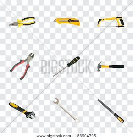 Realistic Carpenter, Claw, Arm-Saw And Other Vector Elements. Set Of Instruments Realistic Symbols Also Includes Saw, Appliance, Wrench Objects.