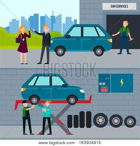 Auto and tire services horizontal banners with car repair workshop and mechanics changing wheel in garage vector illustration