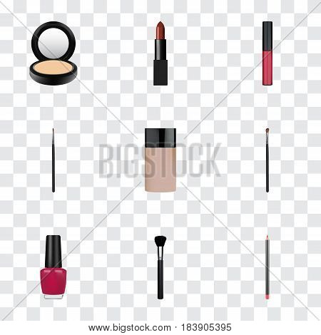Realistic Eye Paintbrush, Blusher, Mouth Pen And Other Vector Elements. Set Of Maquillage Realistic Symbols Also Includes Polish, Powder, Highlight Objects.