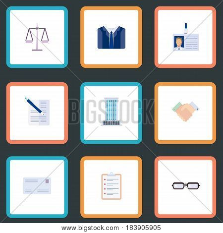 Flat Task List, Libra, Office And Other Vector Elements. Set Of Business Flat Symbols Also Includes List, Libra, Card Objects.