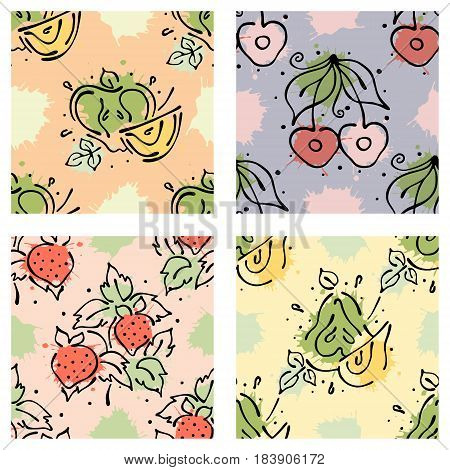 Vector Fruits Seamless Pattern. Cherry, Strawberry, Berry, Apple, Pear, With Leaves, Blots, Drops, S