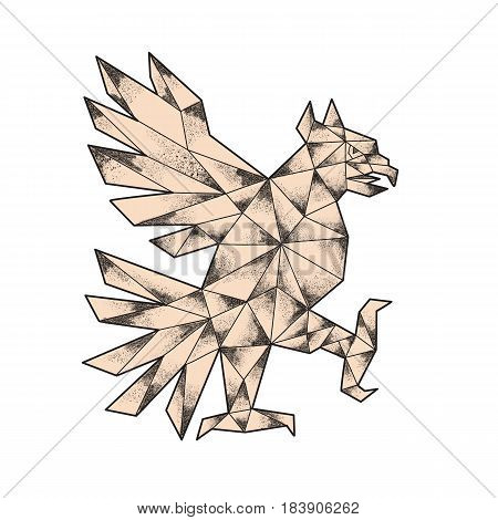 Tattoo style illustration of a glifo from the azteca's culture of a Cuauhtli showing an eagle in a fighting stance viewed from the side set on isolated white background.