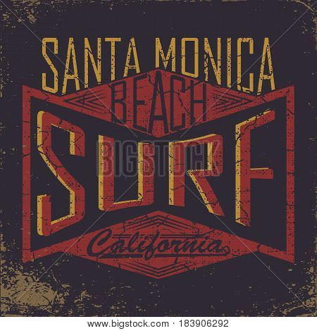 California surf typography, t-shirt graphics, Abstract,  Stock Vector Illustration