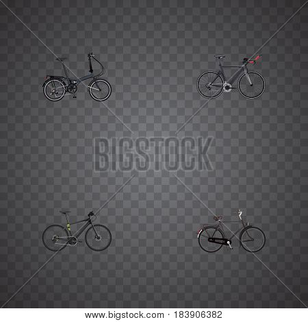 Realistic Training Vehicle, Competition Bicycle, Folding Sport-Cycle And Other Vector Elements. Set Of Bike Realistic Symbols Also Includes Velocipede, Dutch, Hybrid Objects.