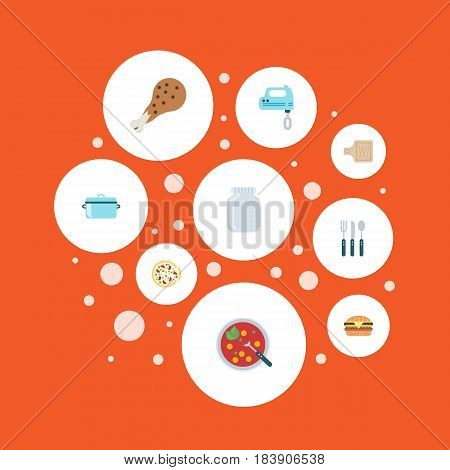 Flat Blender, Italian Pizzeria, Breadboard And Other Vector Elements. Set Of Gastronomy Flat Symbols Also Includes Saucepan, Cutting, Casserole Objects.