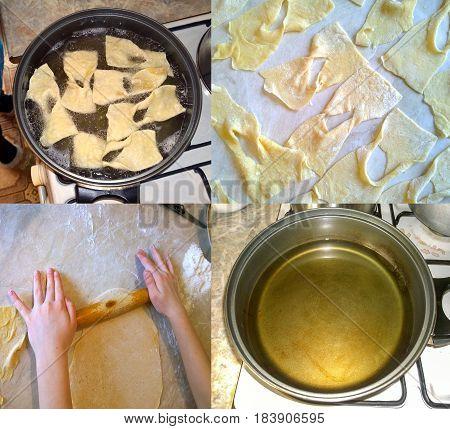 Fragments of the process of cooking homemade cookies - brushwood (virgins) of Ukrainian cuisine