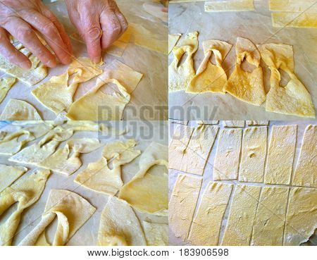 Fragments of the process of cooking at home biscuits - brushwood (verguna) Ukrainian cuisine
