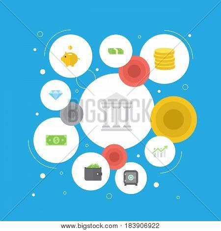 Flat Small Change, Billfold, Bar Diagram And Other Vector Elements. Set Of Commerce Flat Symbols Also Includes Dollar, Safe, Wallet Objects.