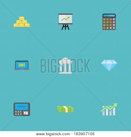 Flat Jewel Gem, Bar Diagram, Growing Chart And Other Vector Elements. Set Of Business Flat Symbols Also Includes Finance, Arrow, Bank Objects.