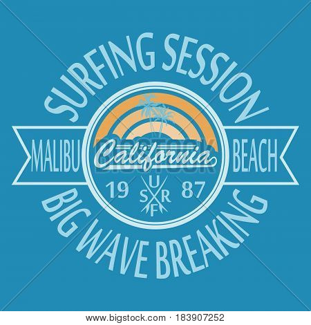 California surf typography, malibu, big wave. For t-shirt or other uses. Stock Vector Illustration.