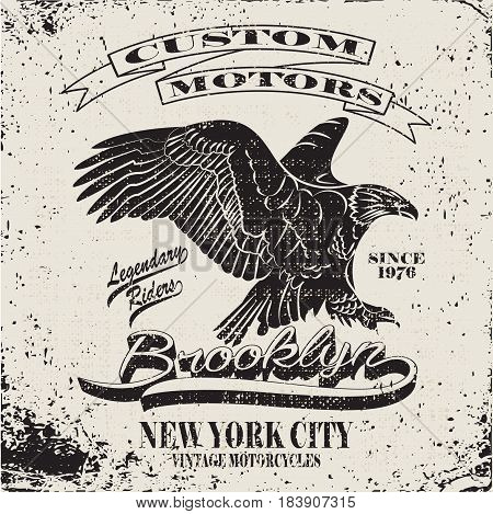 American Motorcycle Emblem.Vintage typography design for biker club, eagle t-shirt graphic. Bikers wear.