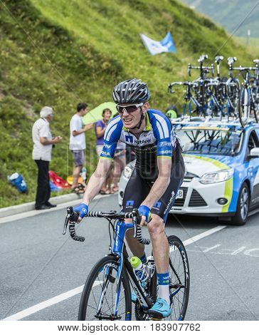Col de PeyresourdeFrance- July 23 2014: The Australian cyclist Zakkari Dempster (Team NetApp-Endura) climbing the road to Col de Peyresourde in Pyrenees Mountains during the stage 17 of Le Tour de France on 23 July 2014.