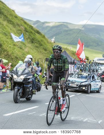 Col de PeyresourdeFrance- July 23 2014: The French cyclist Kevin Reza (Team Europcar) climbing the road to Col de Peyresourde in Pyrenees Mountains during the stage 17 of Le Tour de France on 23 July 2014.