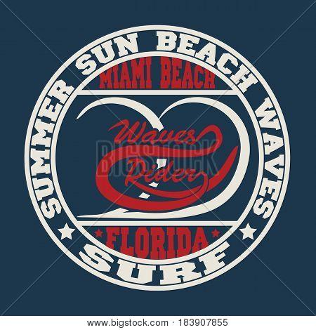 Florida surf typography, t-shirt graphics,  Stock Vector Illustration.