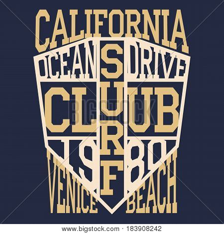 California surf typography, t-shirt graphics, Abstract, Stock Illustration