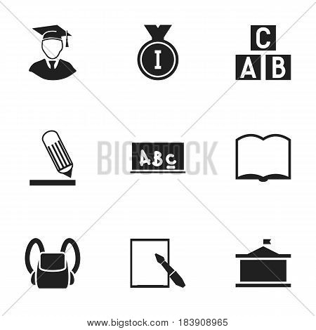 Set Of 9 Editable Graduation Icons. Includes Symbols Such As Book, Notepaper, Alphabet Cube And More. Can Be Used For Web, Mobile, UI And Infographic Design.