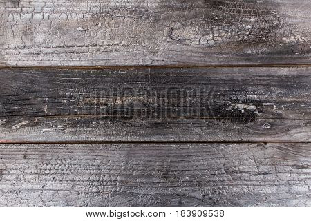 Old Japanese woodworking technology of burning wood Yakisugi.