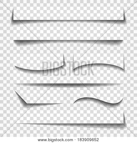 Paper sheet elements shadows illustration for business templates and mobile design isolated on checkered background