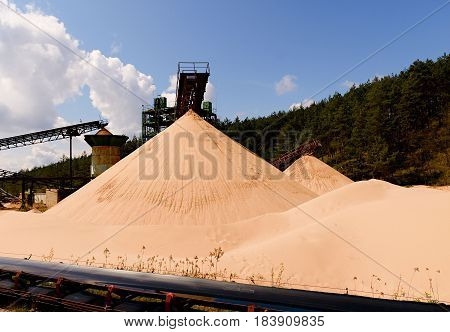 Quarry Aggregate With Conveyor Belt. Construction Industry. Horizontal  Photo.