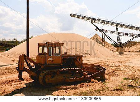 Conveyor Belt And Heavy Duty Machinery. Construction Industry. Horizontal  Photo
