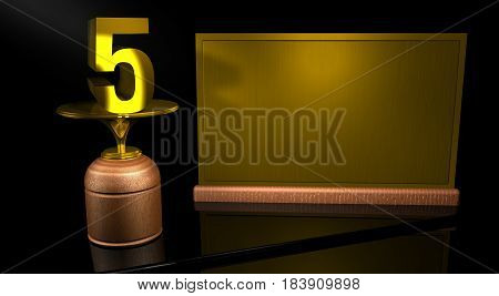 Rendering 3D Wooden trophy with number 5 in gold and golden plate with space to write on mirror table in black background. Commemorative Trophy number 5 for celebrating anniversaries or important dates